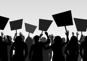 11058927 - protesters crowd landscape background illustration