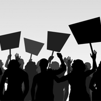 11058927 - protesters crowd landscape background illustration