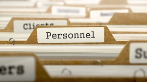 38340529 - personnel word on folder register of card index. selective focus.