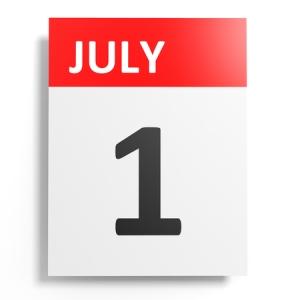 51162387 - calendar on white background. 1 july. 3d illustration.