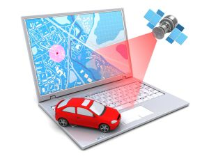 65707188 - 3d illustration of car location tracking with laptop and satellite